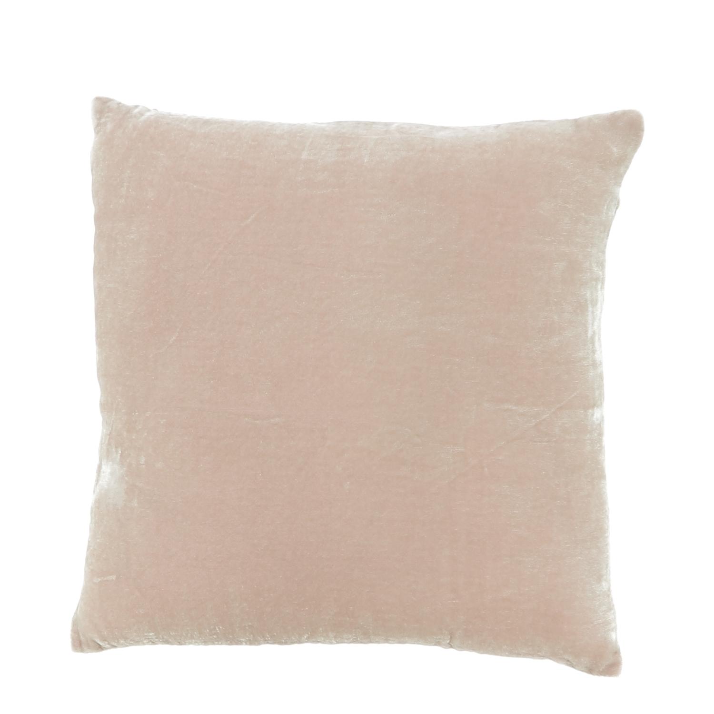 Coussin 30x30 cm en velours de soie rose poudre