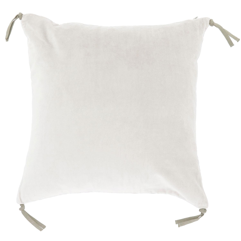 Coussin en velours de coton 45x45 cm écru