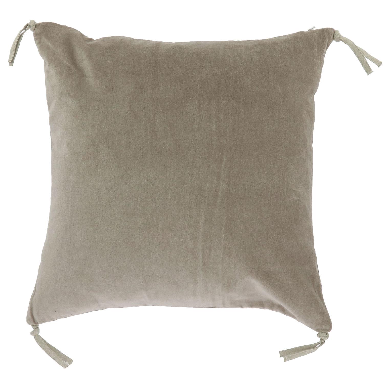 Coussin en velours de coton 45x45 cm beige