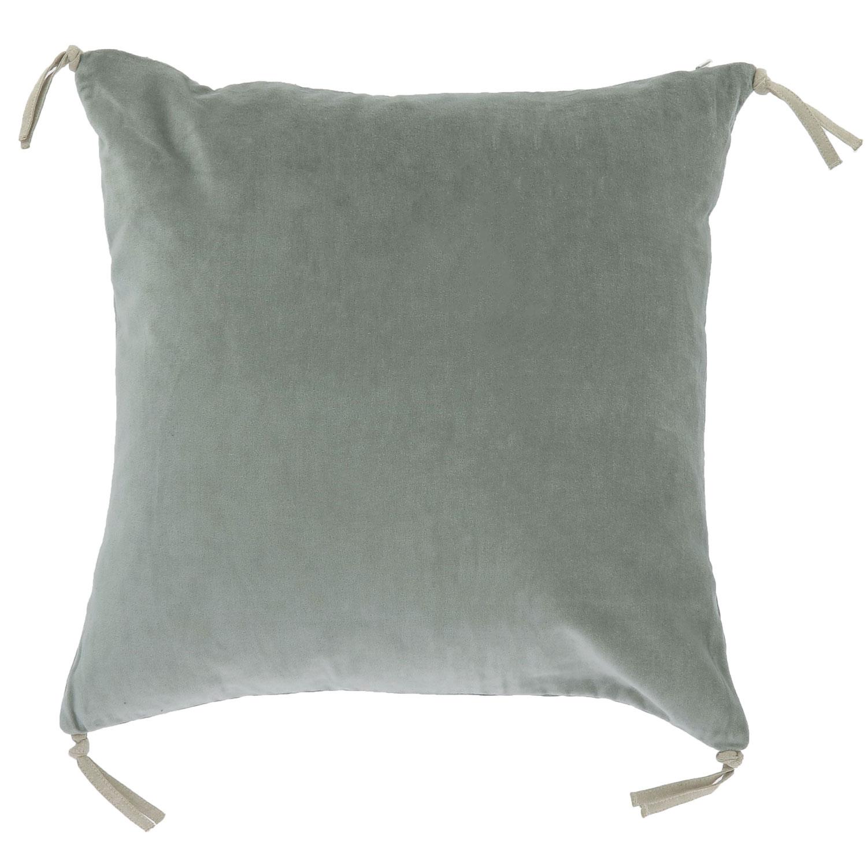 Coussin en velours de coton 45x45 cm céladon