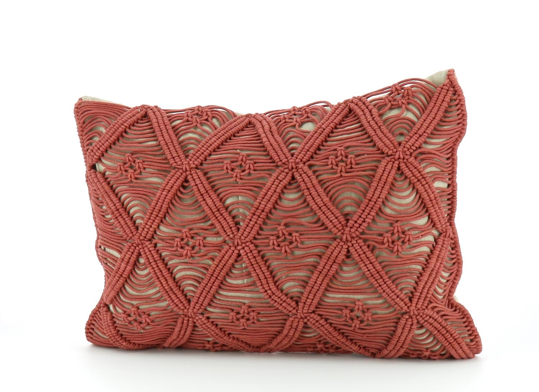 Coussin 35x50 cm en coton zip terracotta
