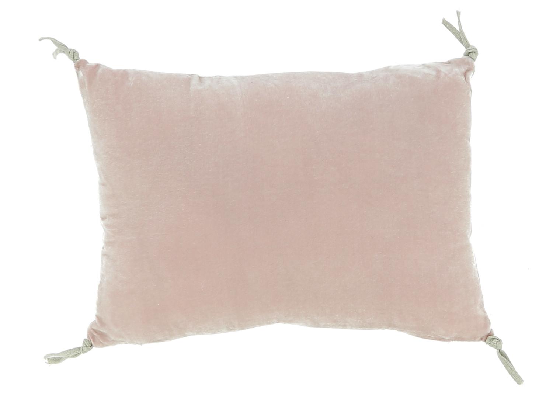 Coussin 25x35 cm en velours de soie rose poudre