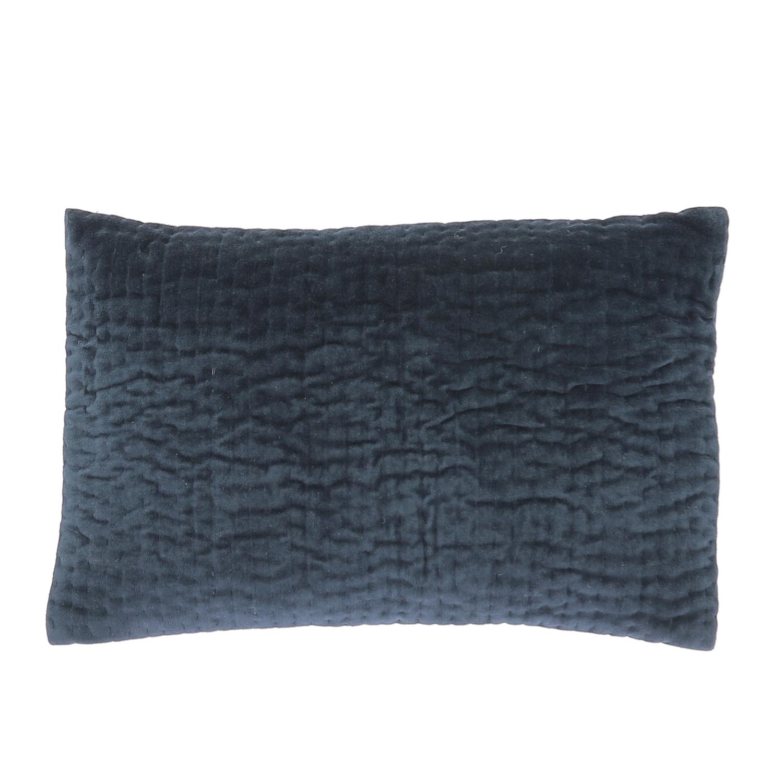 Coussin en velours de coton 30x45 cm marine