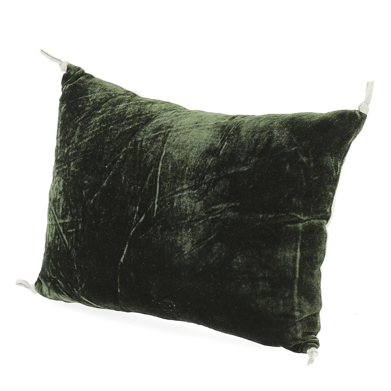Coussin 25x35 cm en velours de soie olive noire