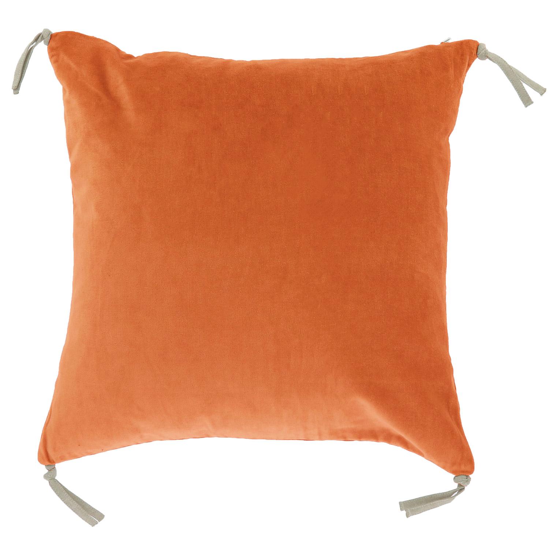 Coussin en velours de coton 45x45 cm orange