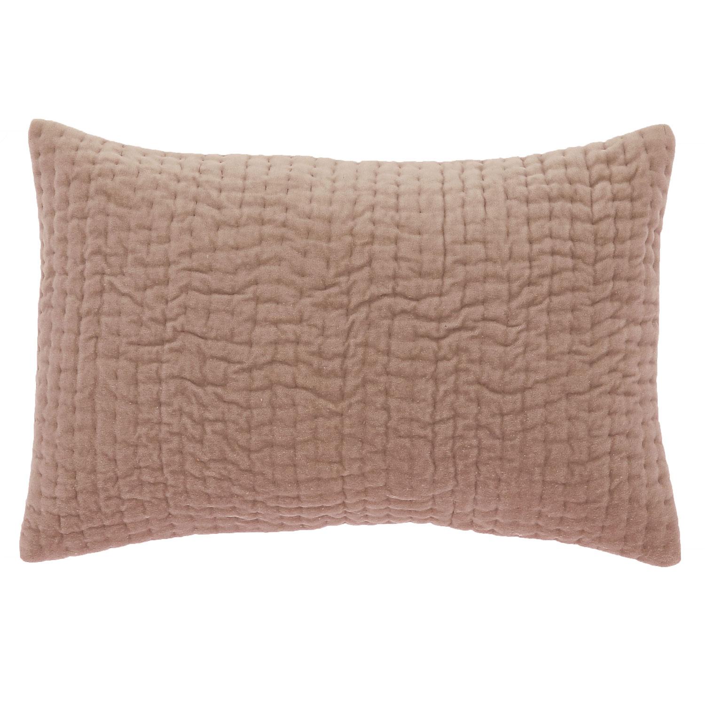Coussin en velours de coton 30x45 cm rose poudre