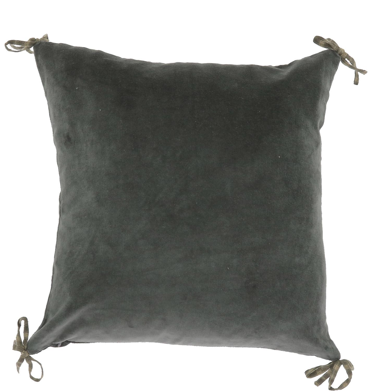 Coussin en velours de coton 45x45 cm anthracite
