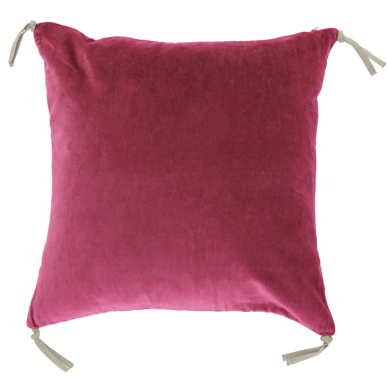 Coussin en velours de coton 45x45 cm terre rouge