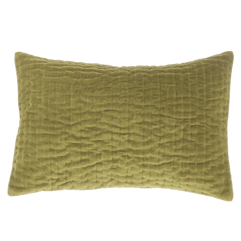 Coussin en velours de coton 30x45 cm olive
