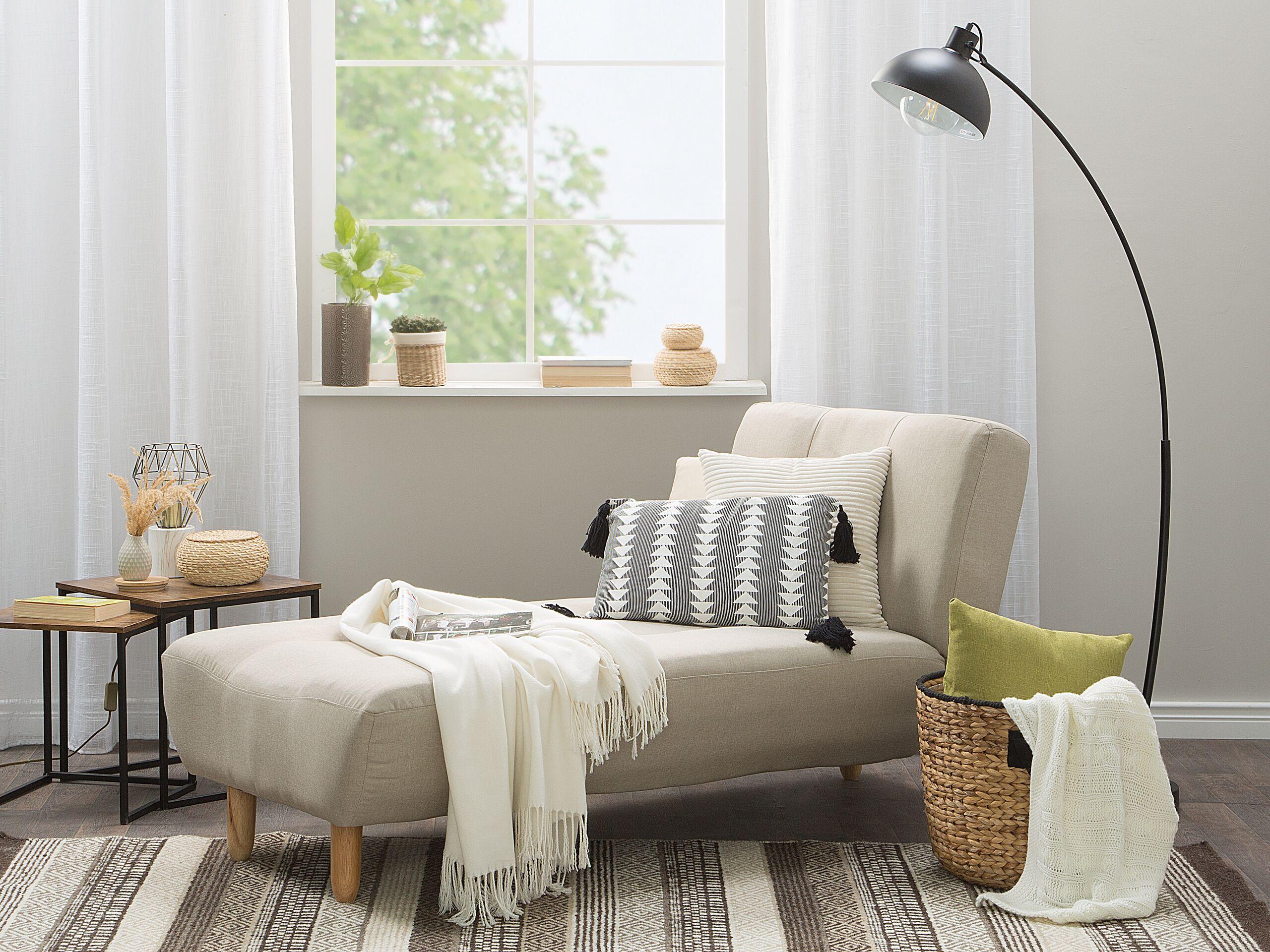 Chaise longue en tissu beige