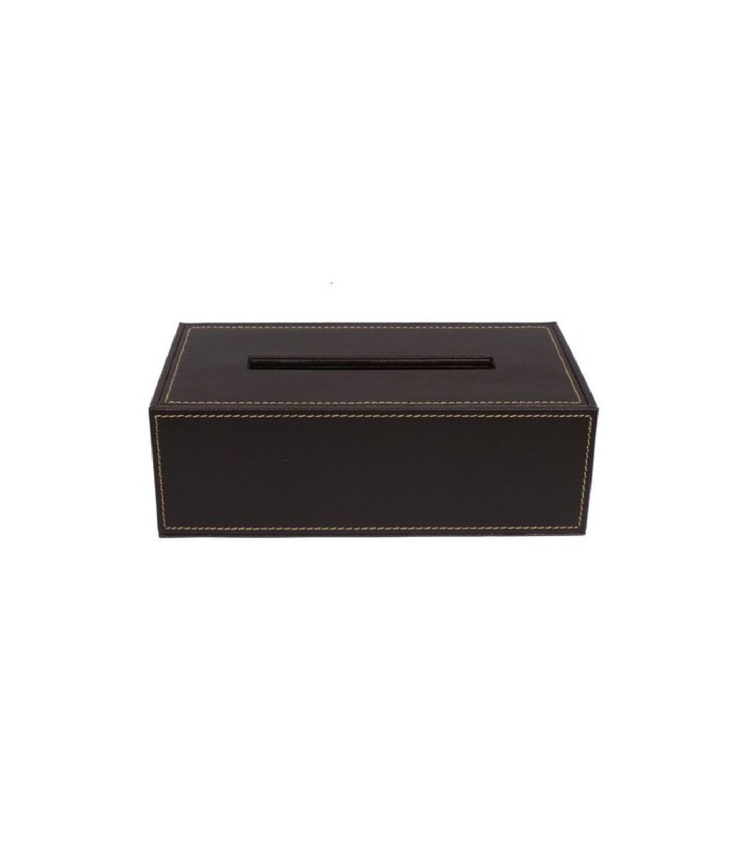 Boîte à mouchoirs design similicuir marron (photo)