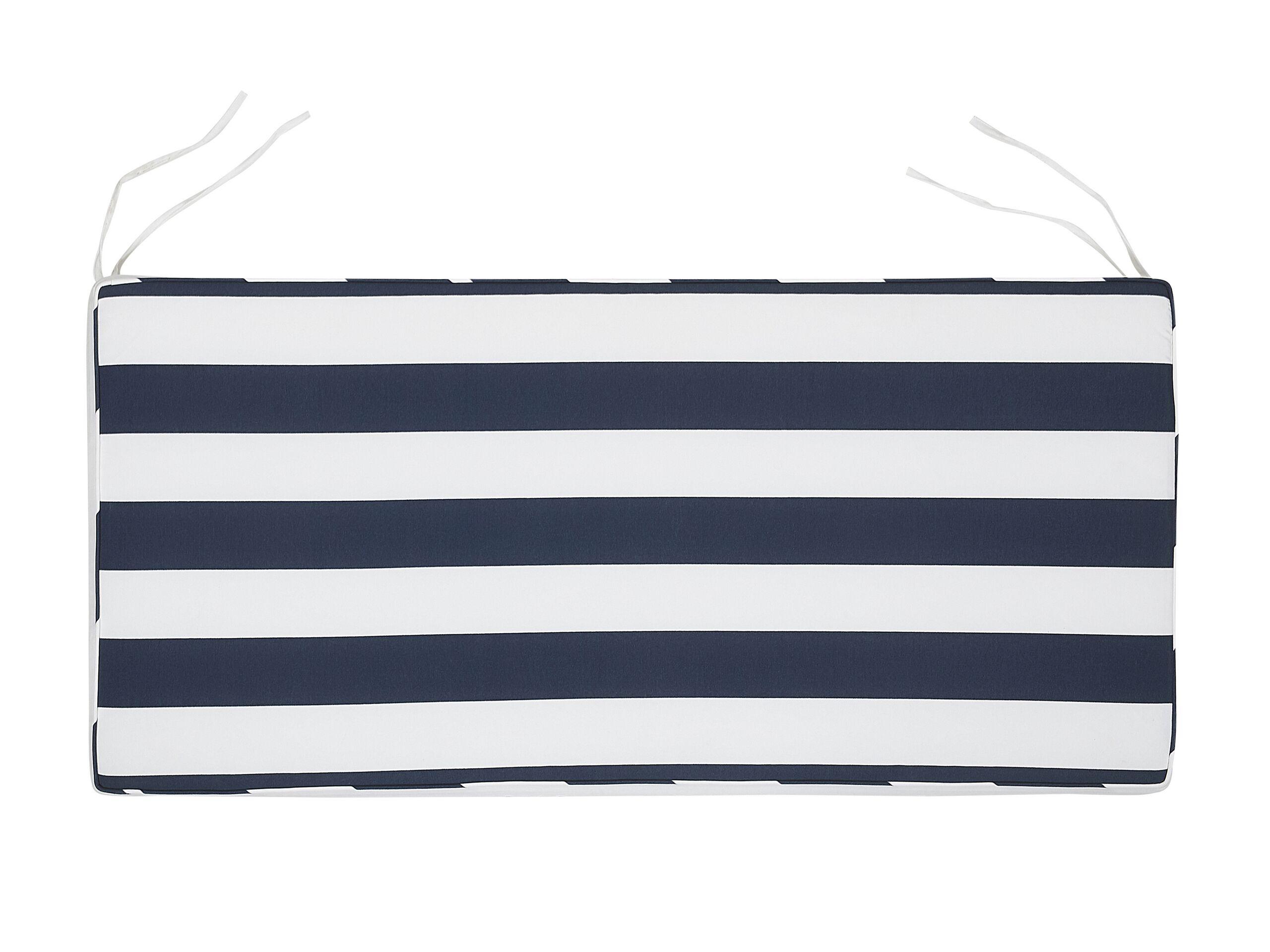 Coussin à rayures bleu marine pour banc de jardin L112cm