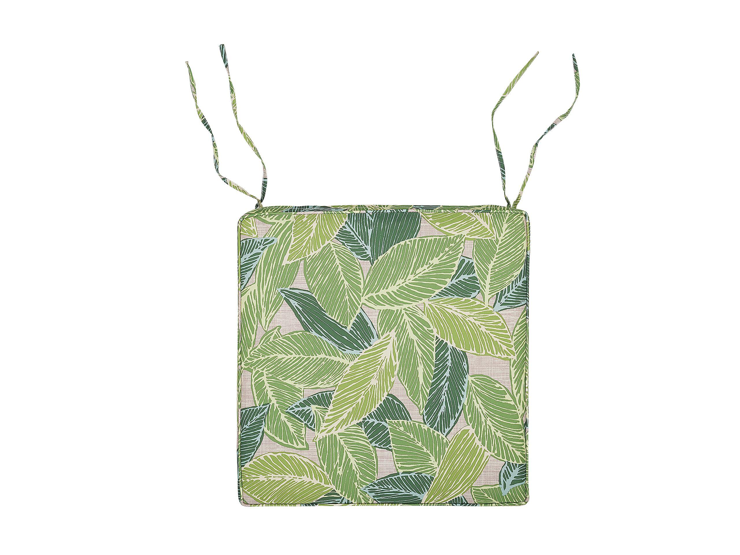 Coussin au motif feuilles vertes et beiges pour chaise 46x46cm