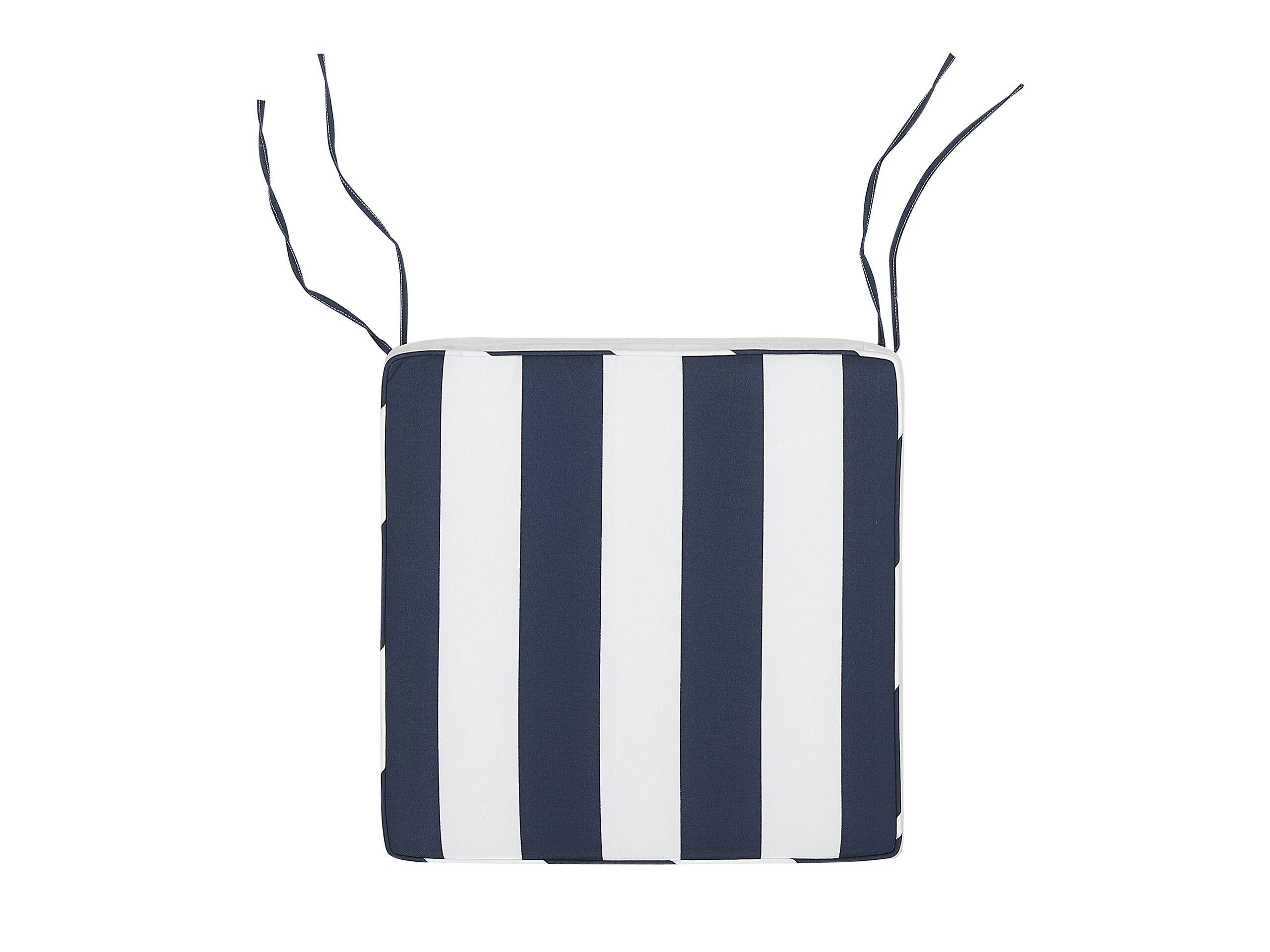 Coussin à rayures bleu marine pour chaise 46x46cm