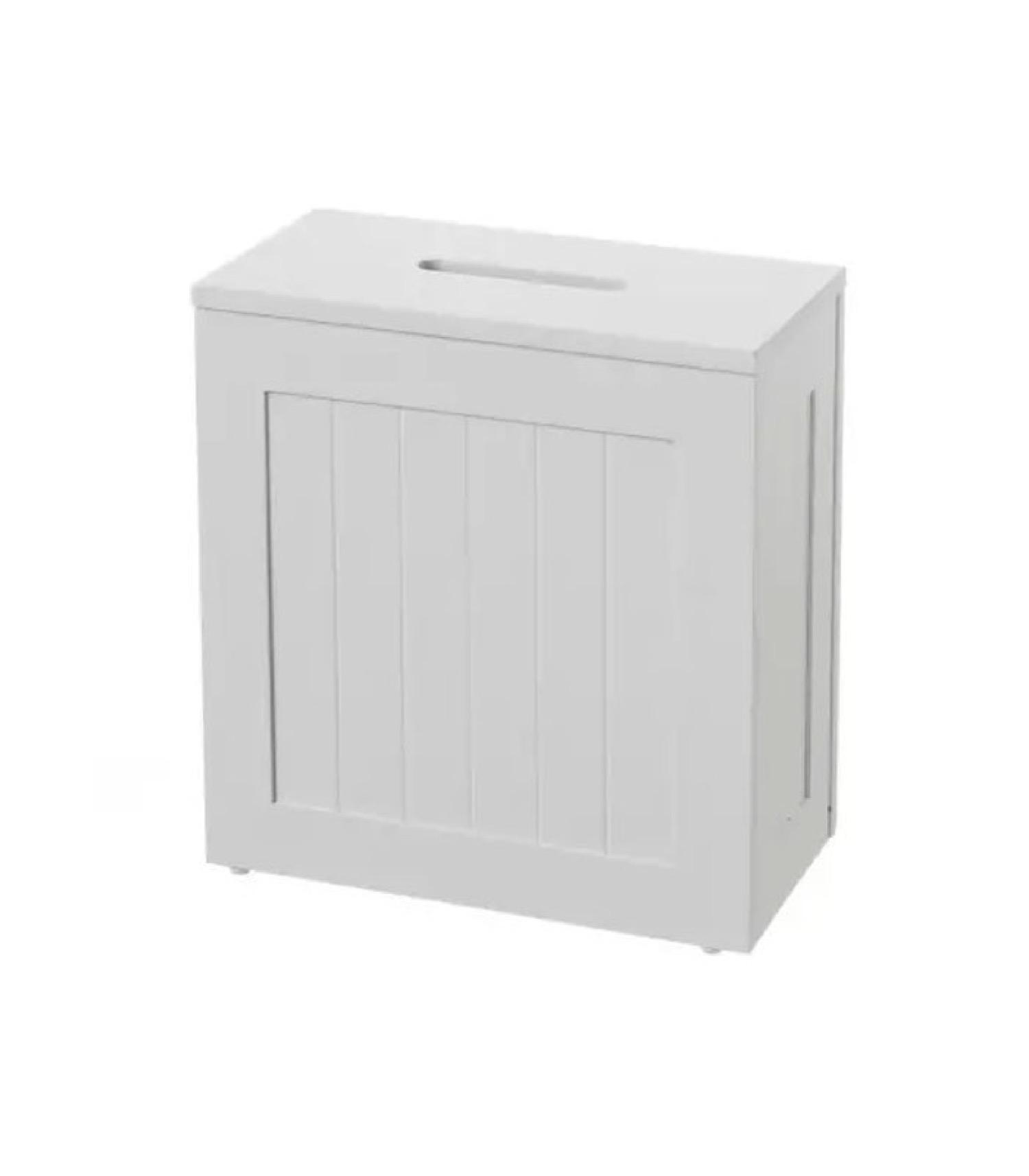 Rangement stock rouleaux papier toilette bois MDF blanc