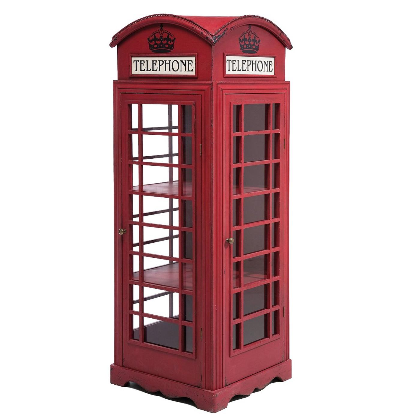 Vitrine rouge cabine téléphonique