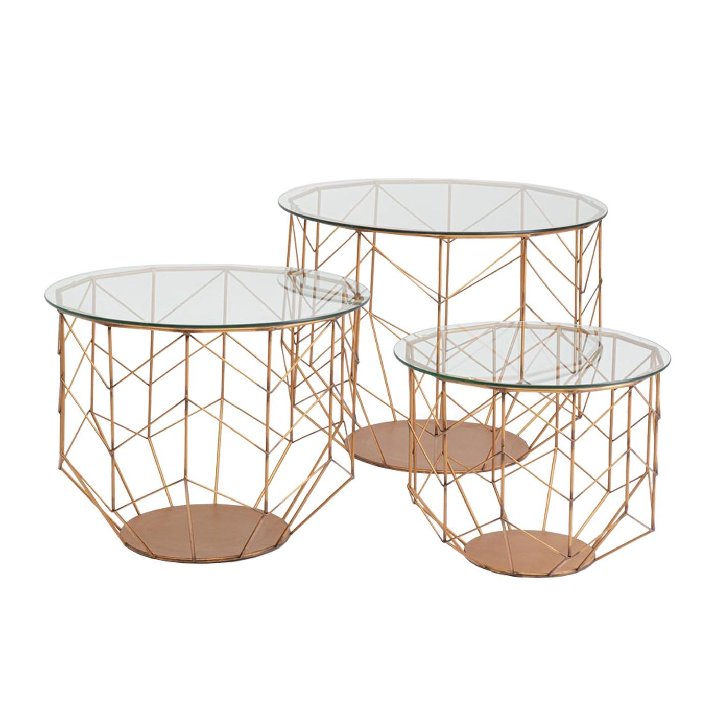 3 tables basses rondes en acier cuivré et verre