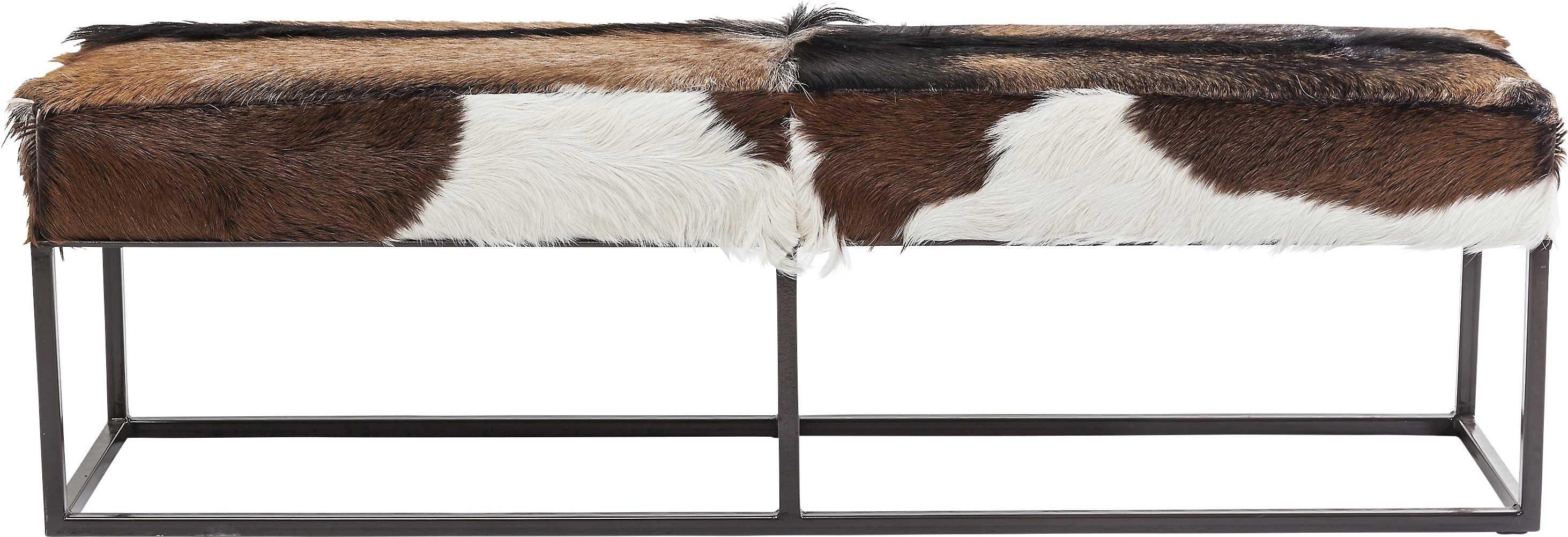 maison du monde Banc 2 places en peau de chèvre et acier