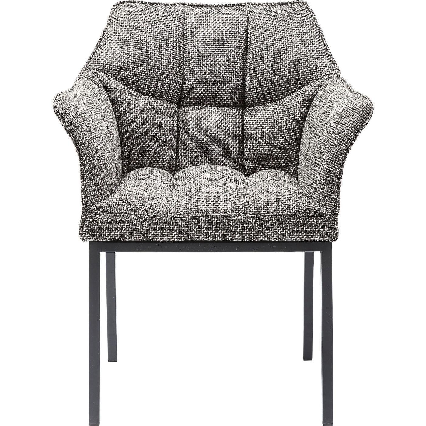 Chaise avec accoudoirs grise et acier
