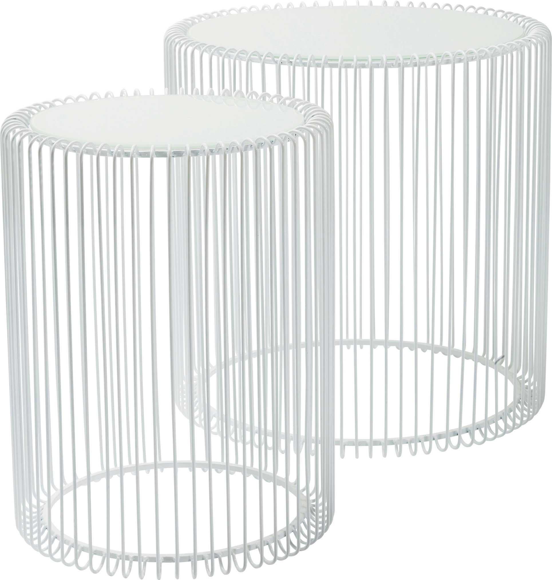 2 tables d'appoint rondes en acier blanc et verre
