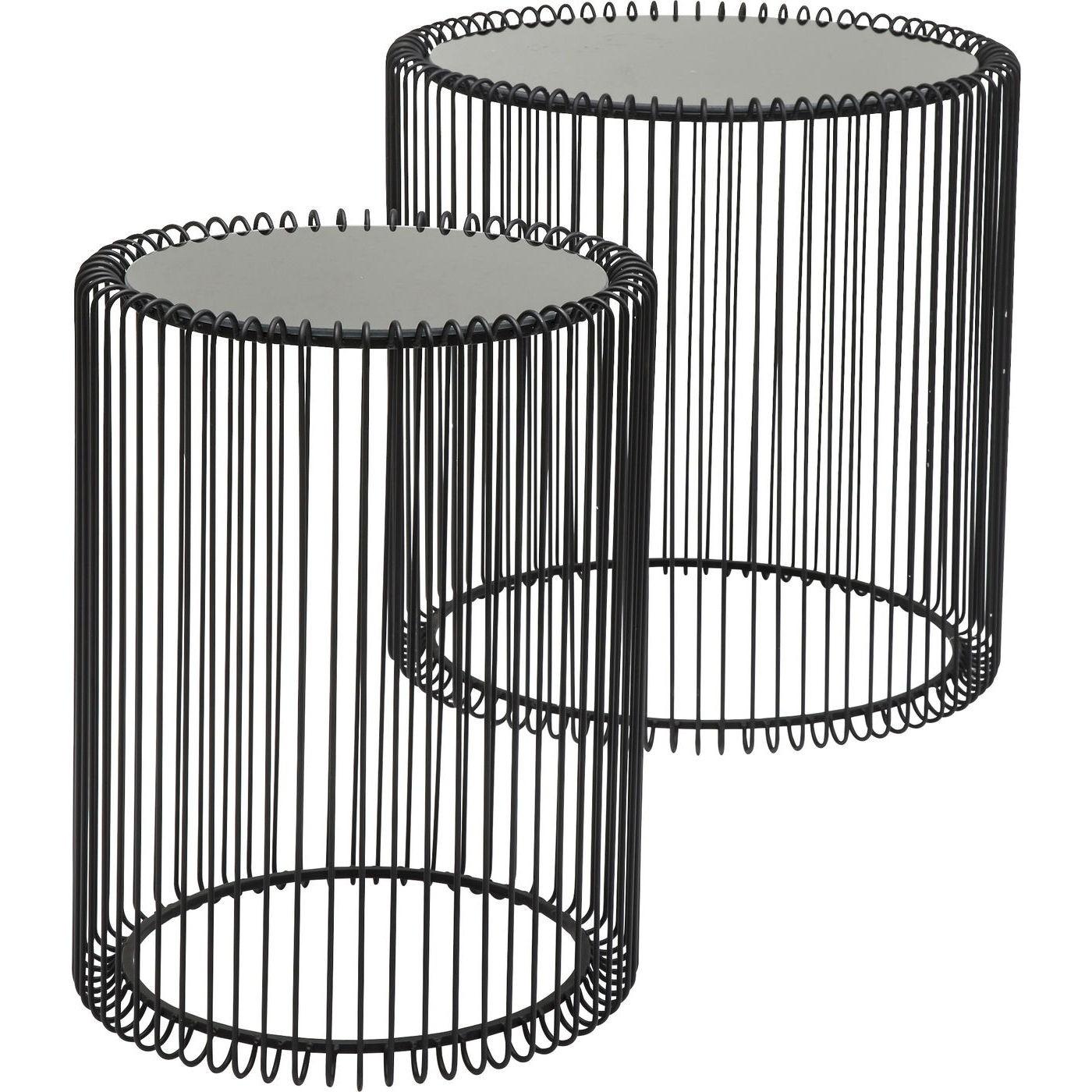 2 tables d'appoint rondes en acier noir et verre