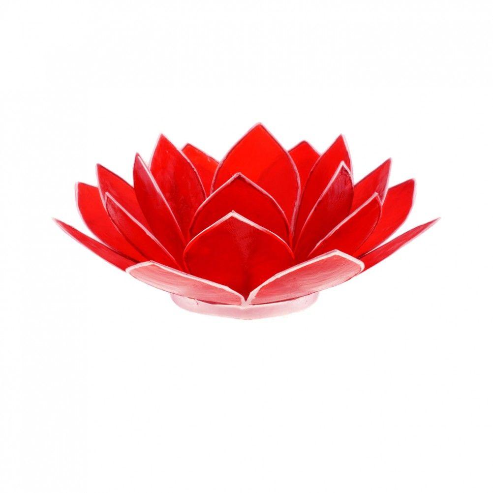 Porte bougie fleur de lotus rouge et argent