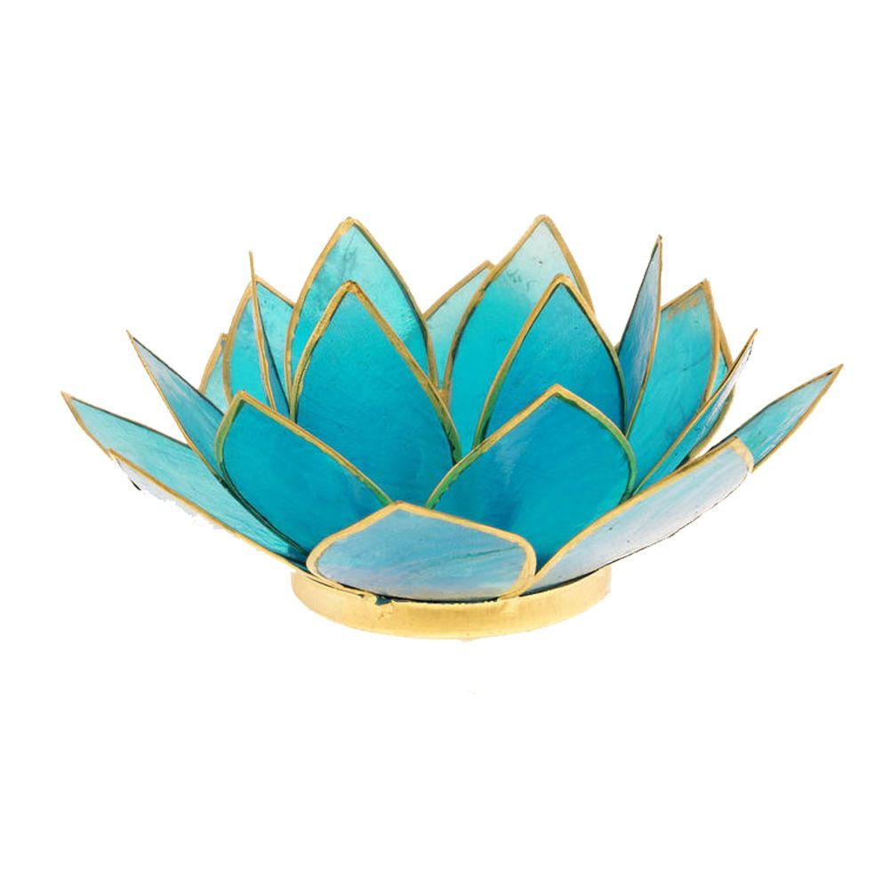 Porte bougie fleur de lotus bleu et or