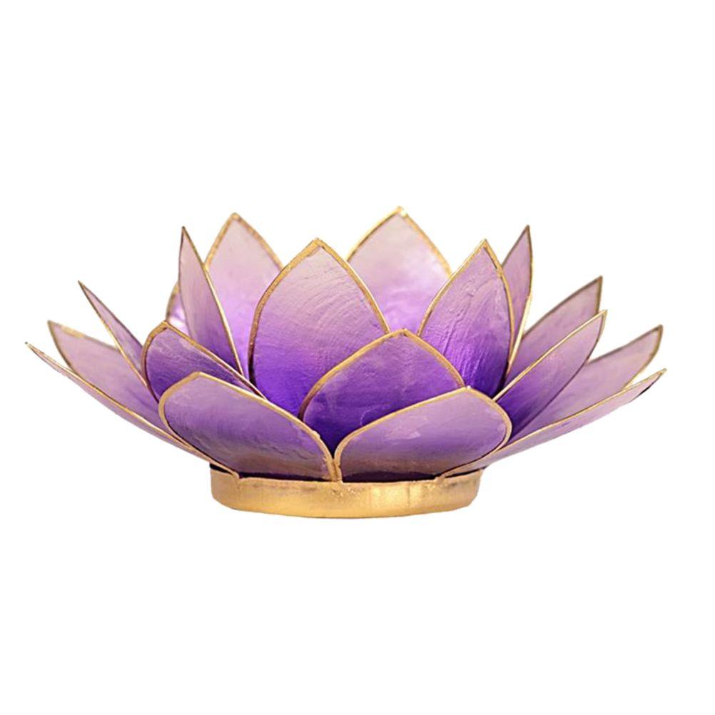 Porte bougie fleur de lotus parme et or