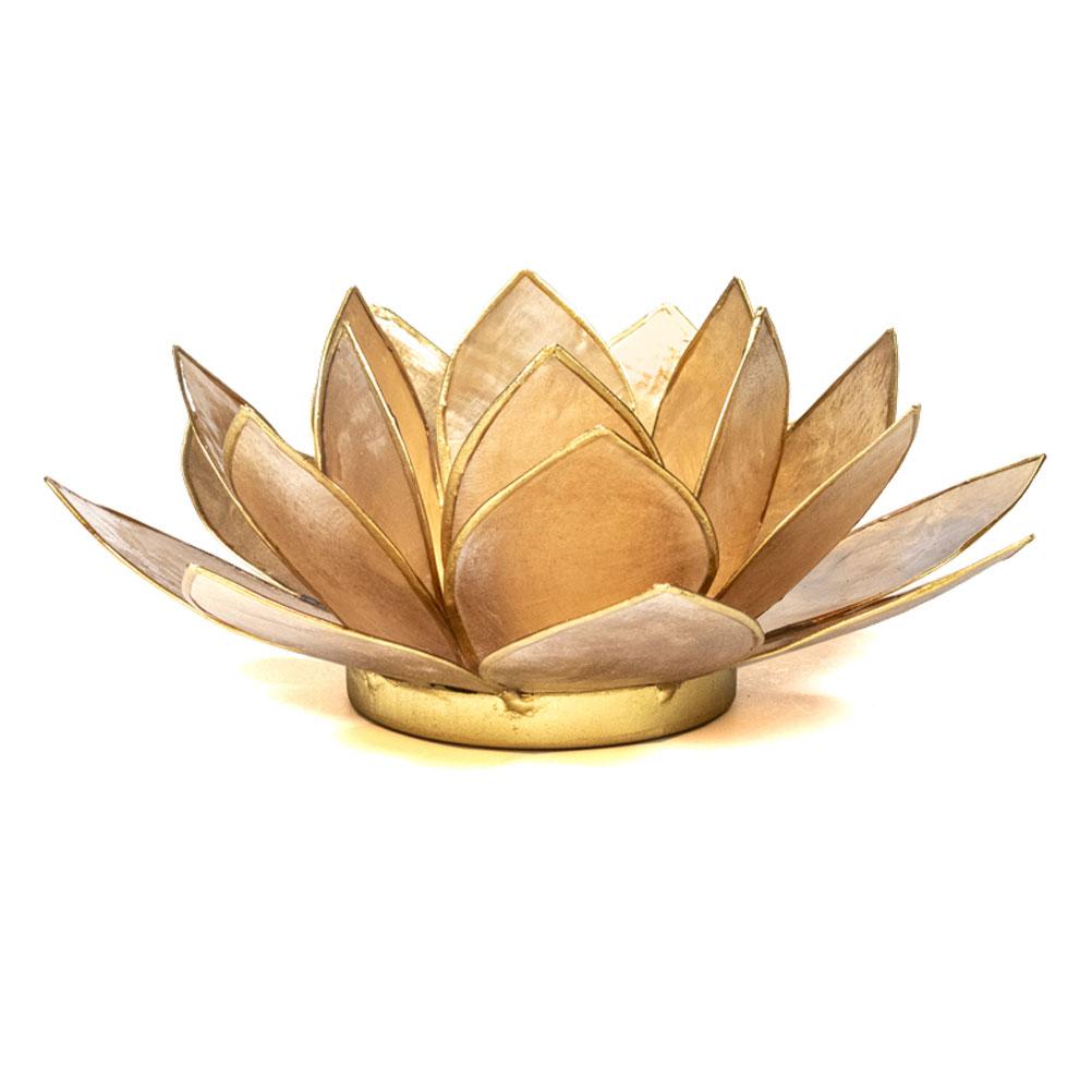 Porte bougie fleur de lotus beige et or