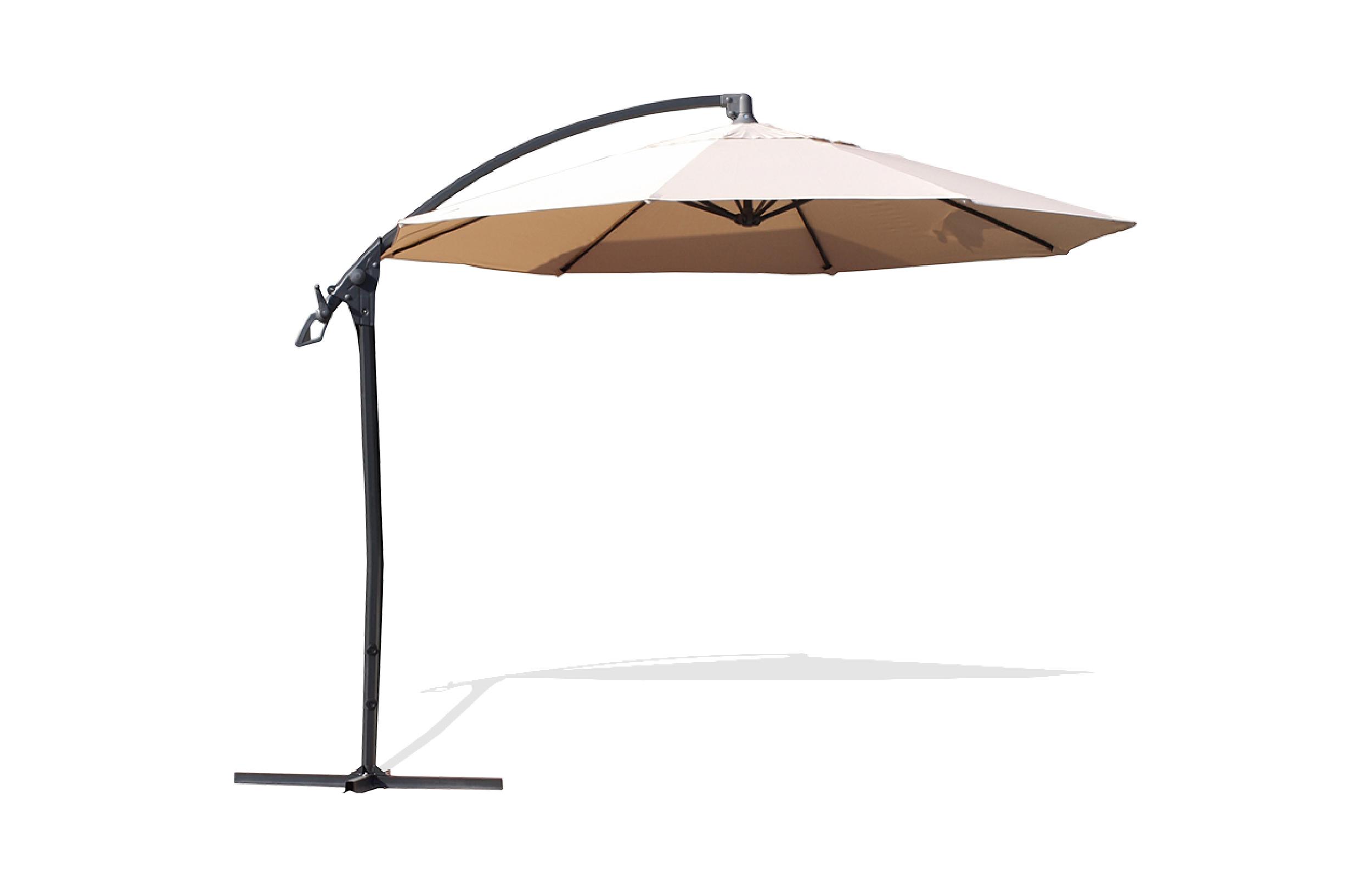 Parasol avec pied excentré en acier et toile écrue