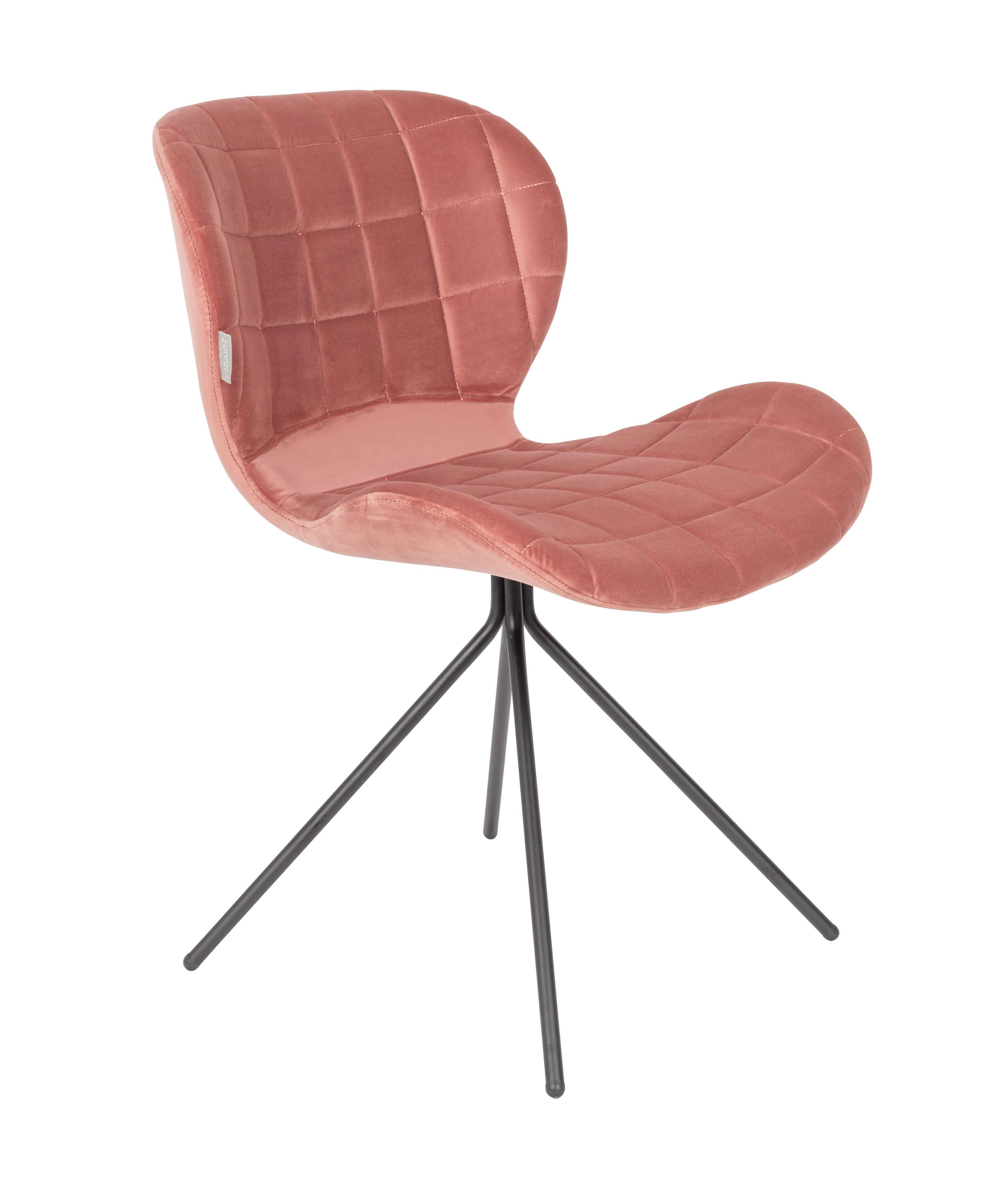 Chaise design en velours rose