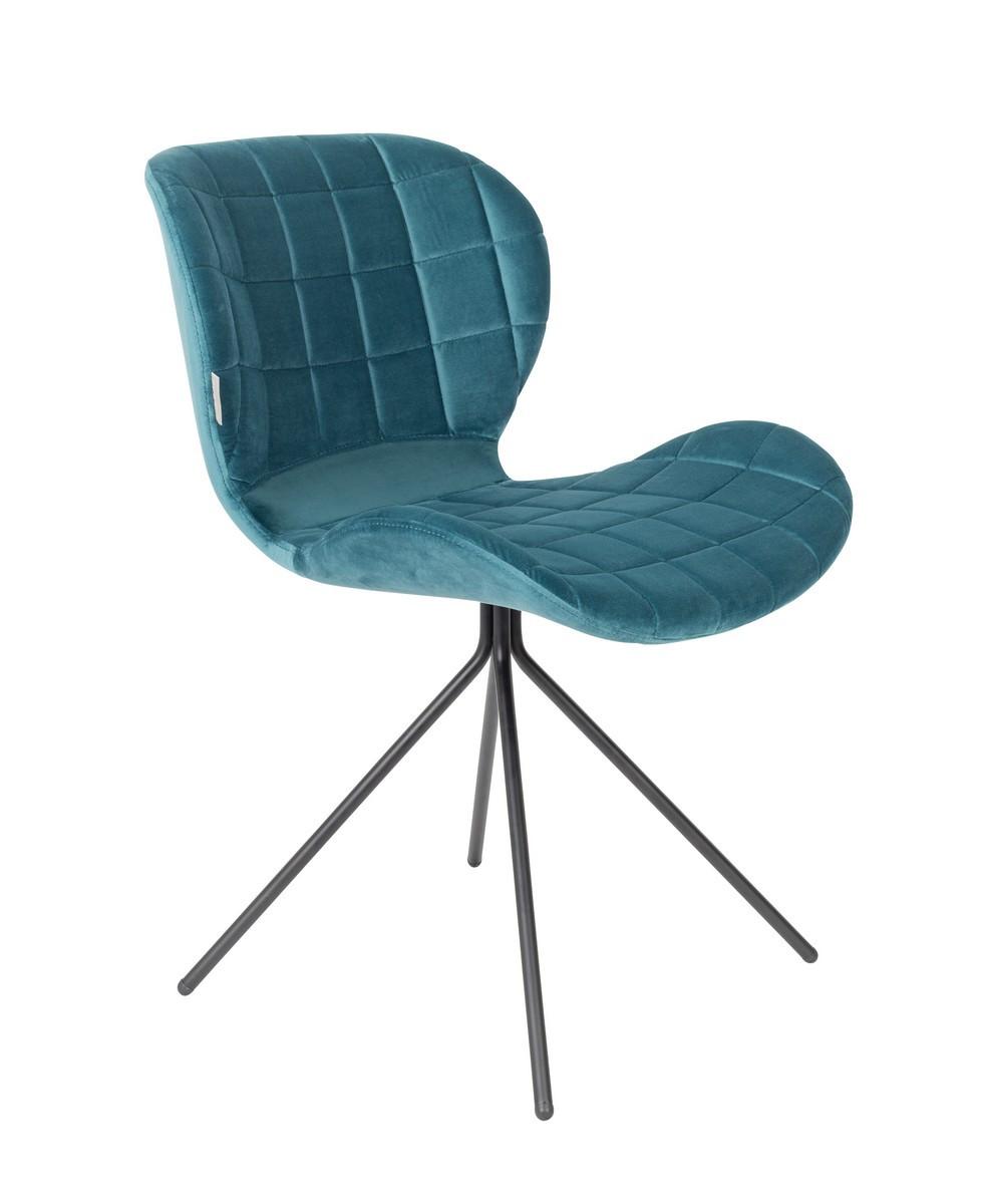 Chaise design en velours bleu