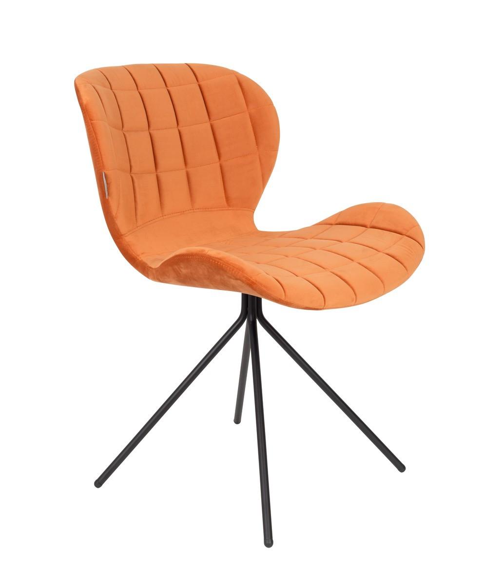 Chaise design en velours orange