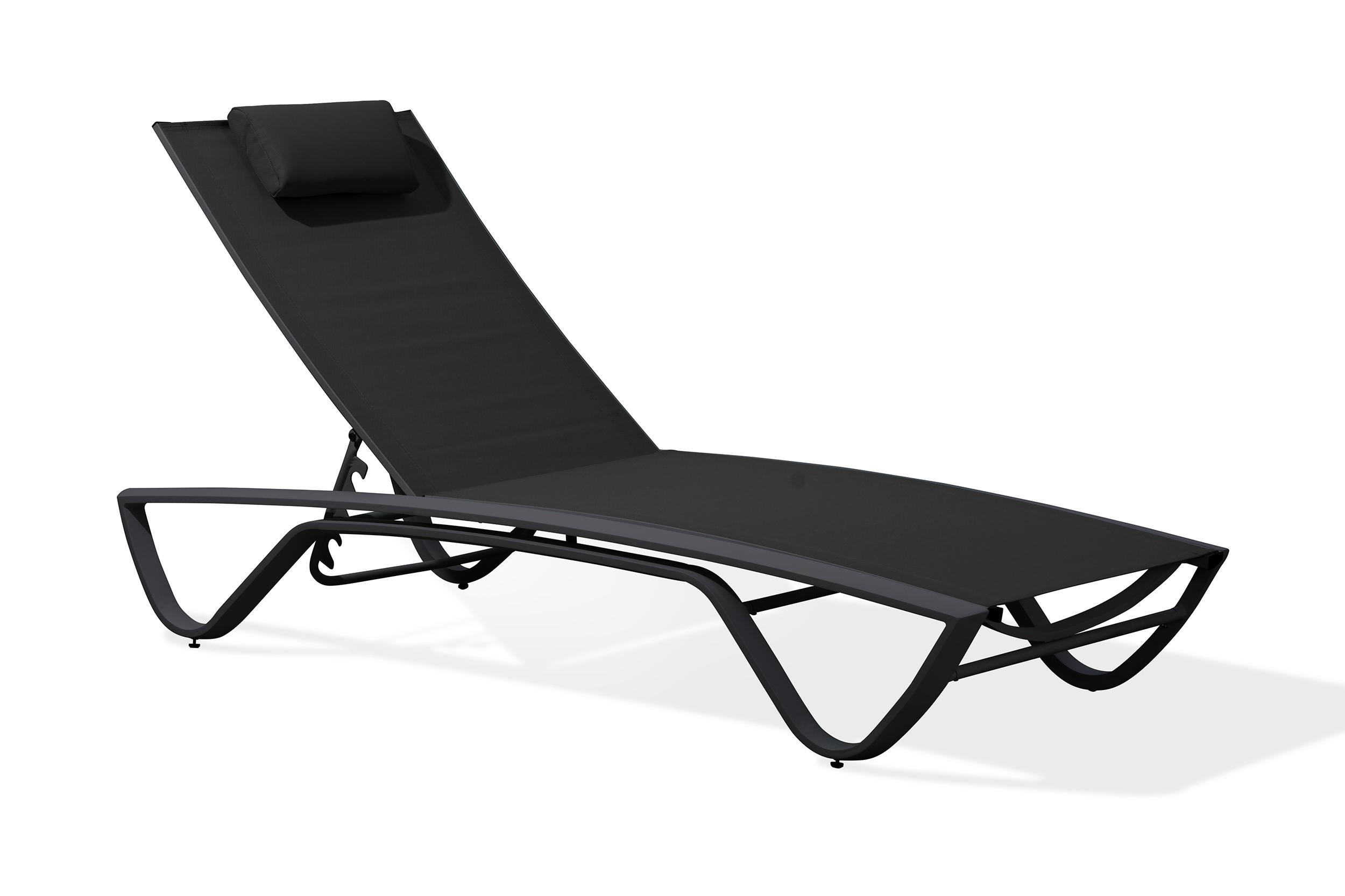 Chaise longue en aluminium blanc et toile plastifiée noire
