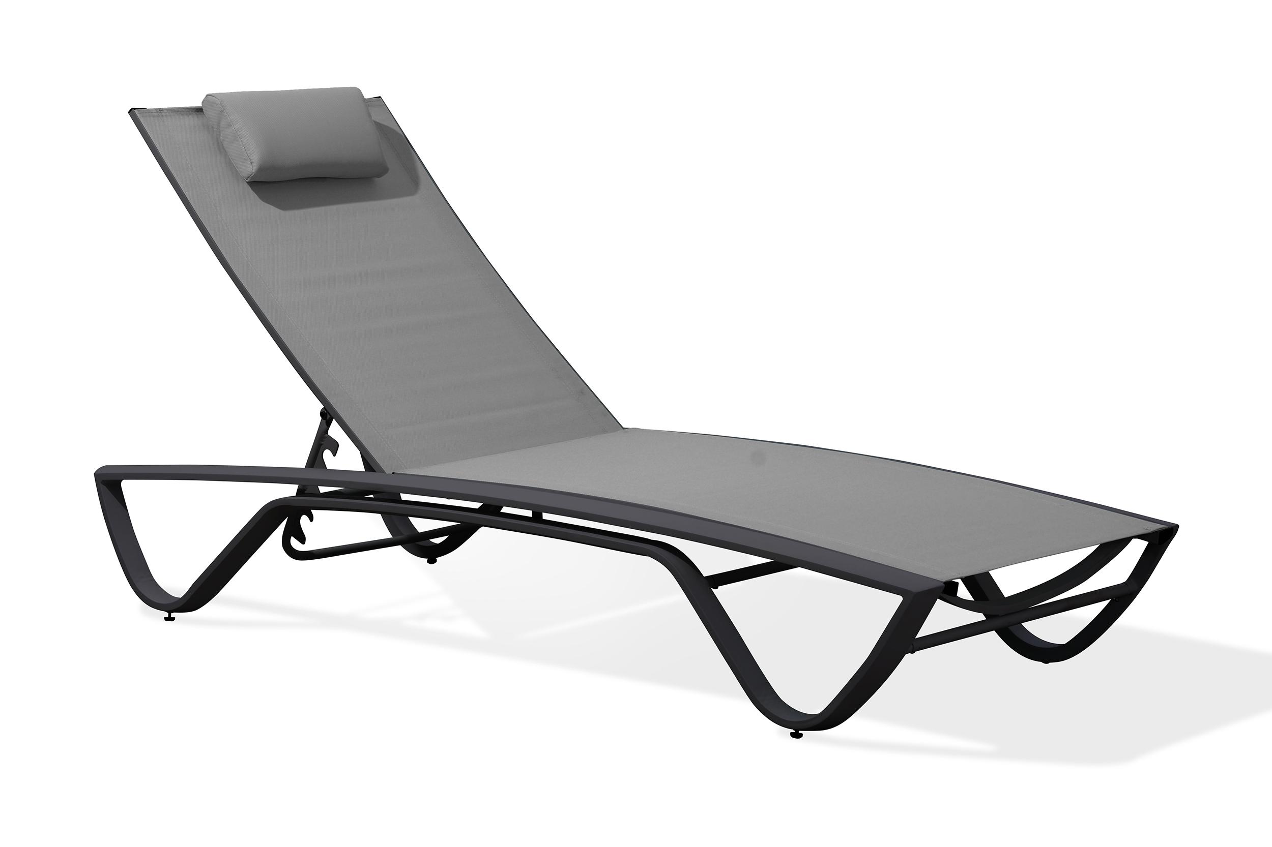 Chaise longue en aluminium blanc et toile plastifiée grise