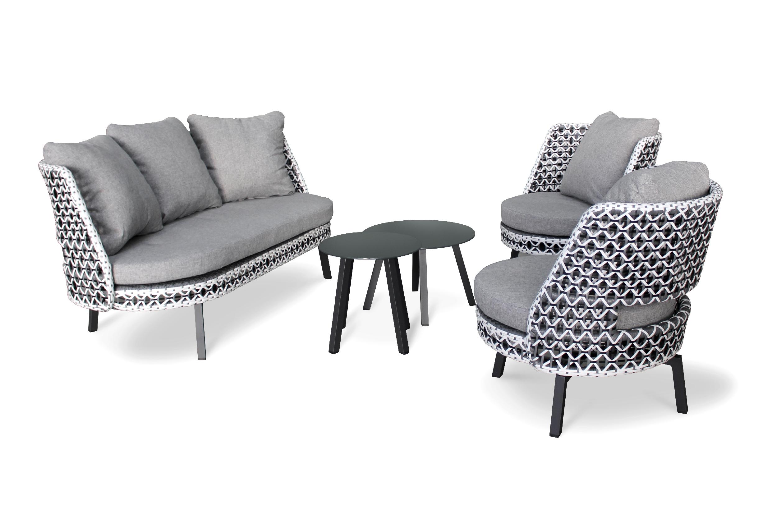 Salon de jardin 4 places fauteuils rotatives gris anthracite