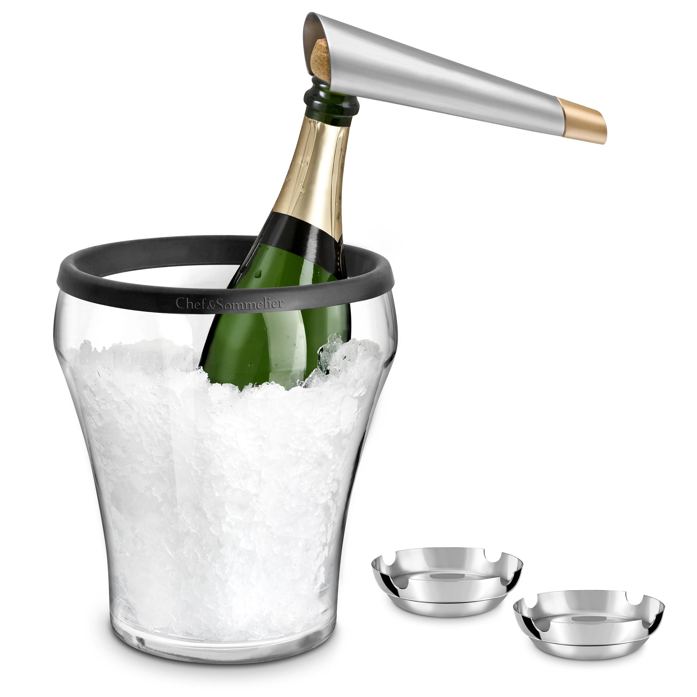 Seau à champagne, coupelles inox et tire-bouchon champagne