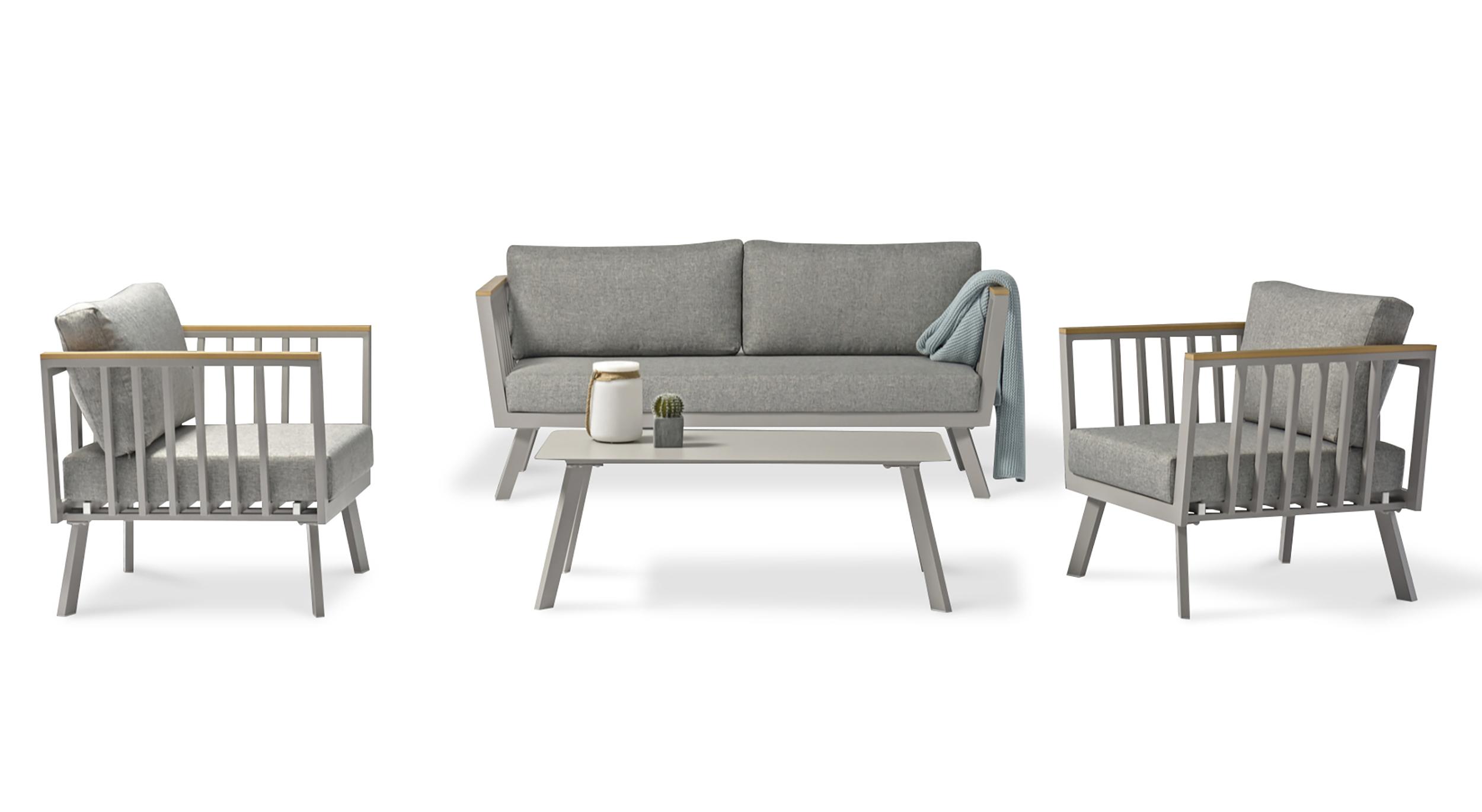 Salon de jardin 5 places en aluminium gris