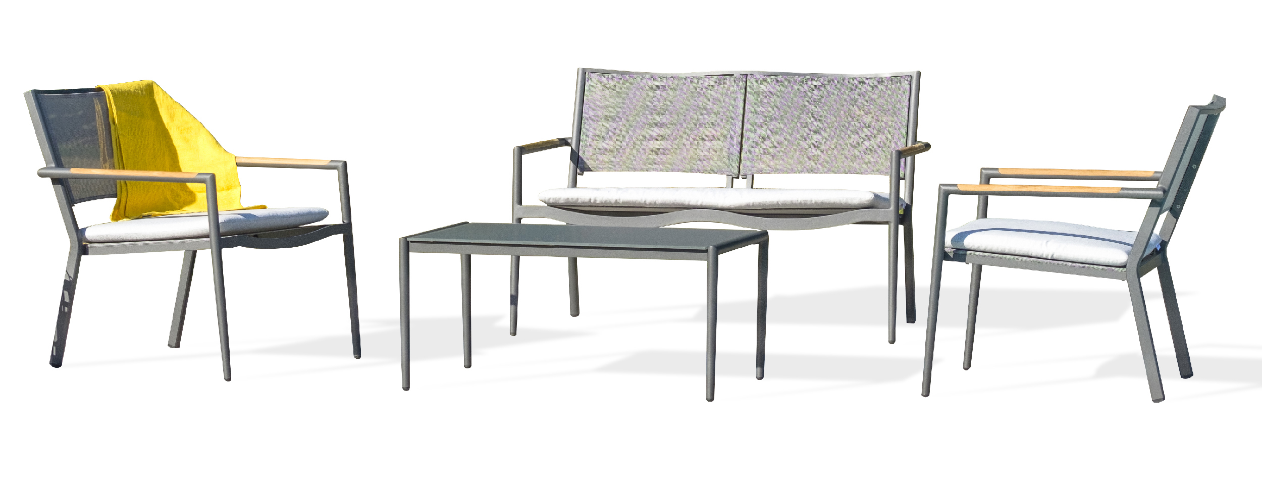 Salon de jardin 4 places en toile plastifiée et aluminium gris