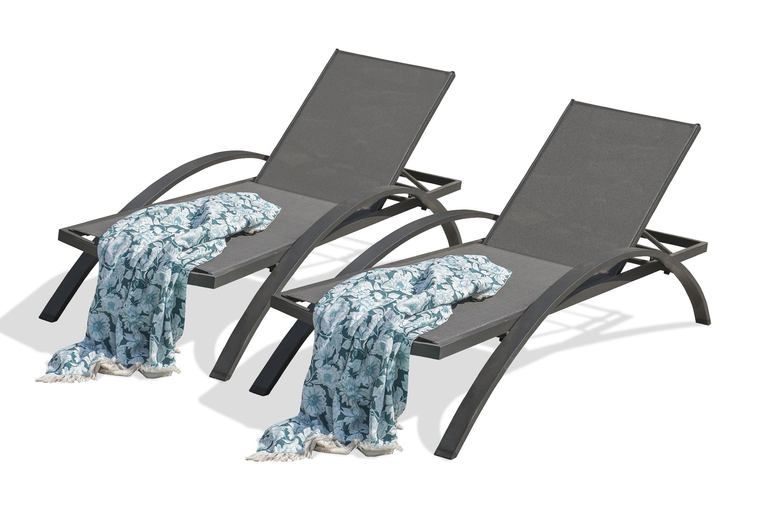 Lot de 2 chaises longues en toile plastifiée et aluminium gris