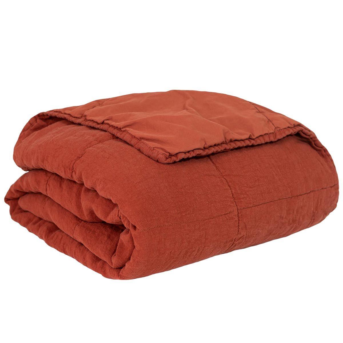 Couvre-lit en lin et coton lavé 180x250cm rouge