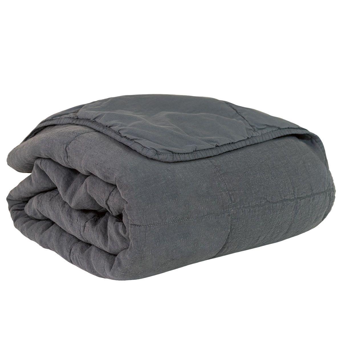 Couvre-lit en lin et coton Bergen 180x250cm gris