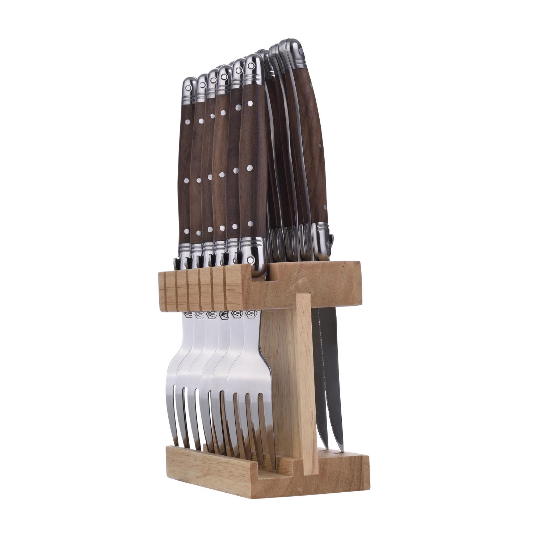 Set de 6 couteaux et 6 fourchettes avec support