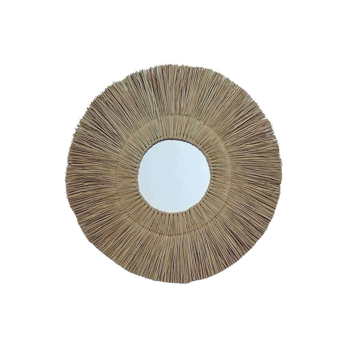 Miroir rond en paille de mendong beige