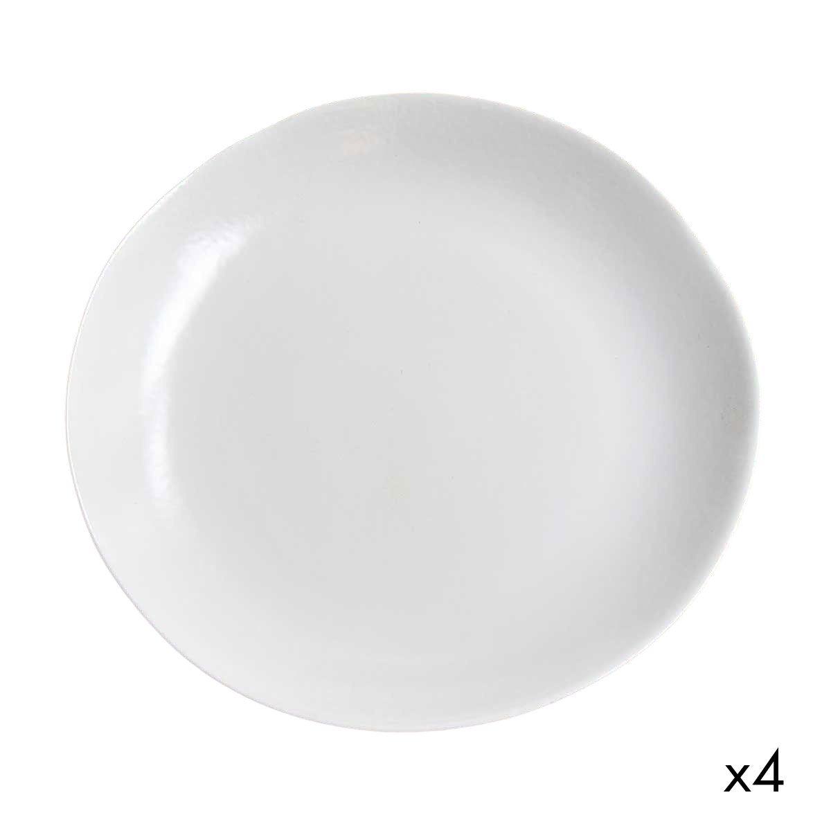 Assiette plate céramique (par 4)  blanc