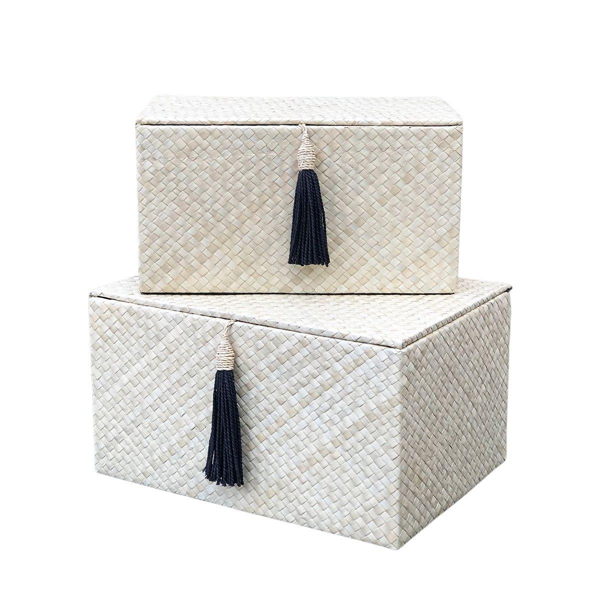 Set 2 boîtes rectangulaires pandan beige