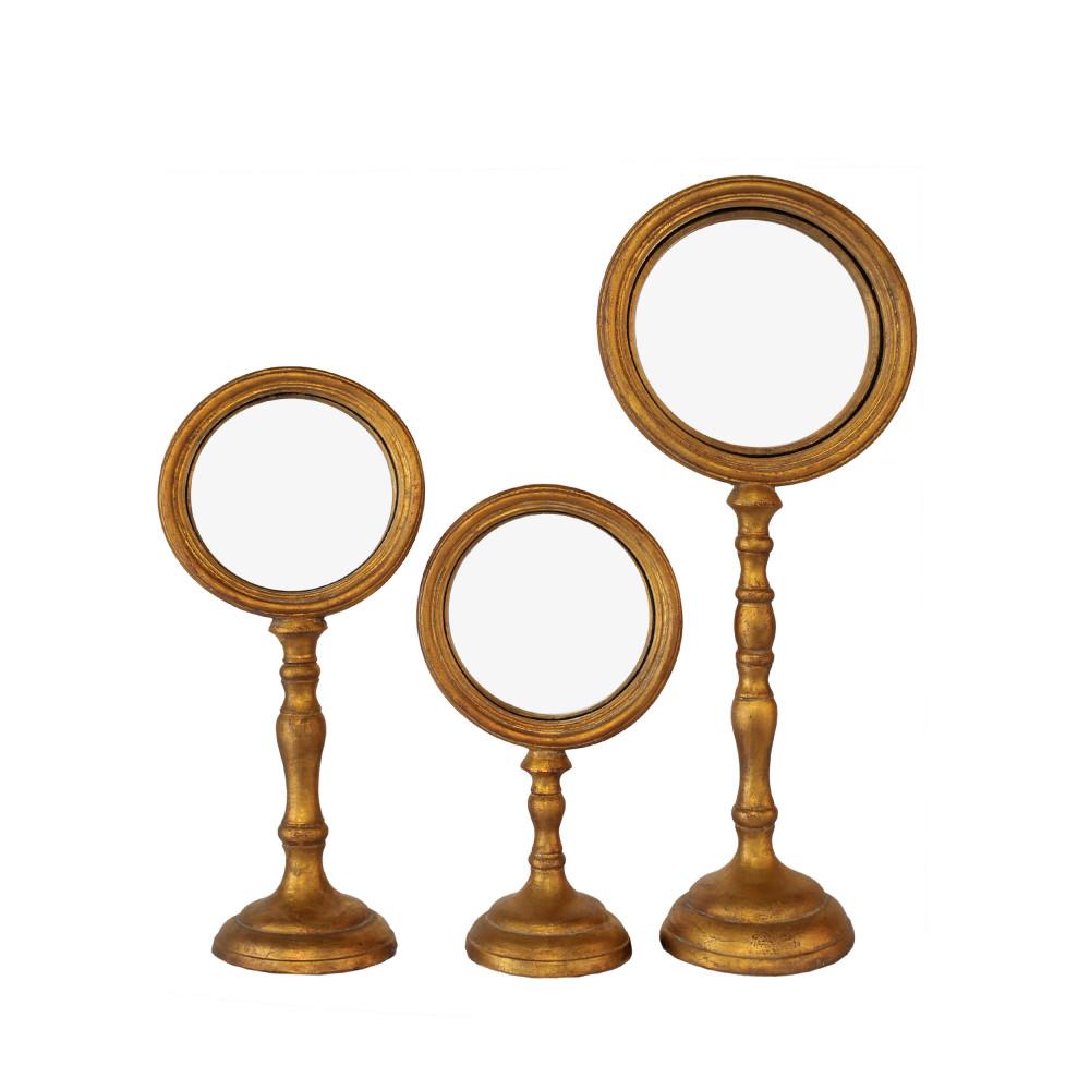 3 miroirs sur pieds or