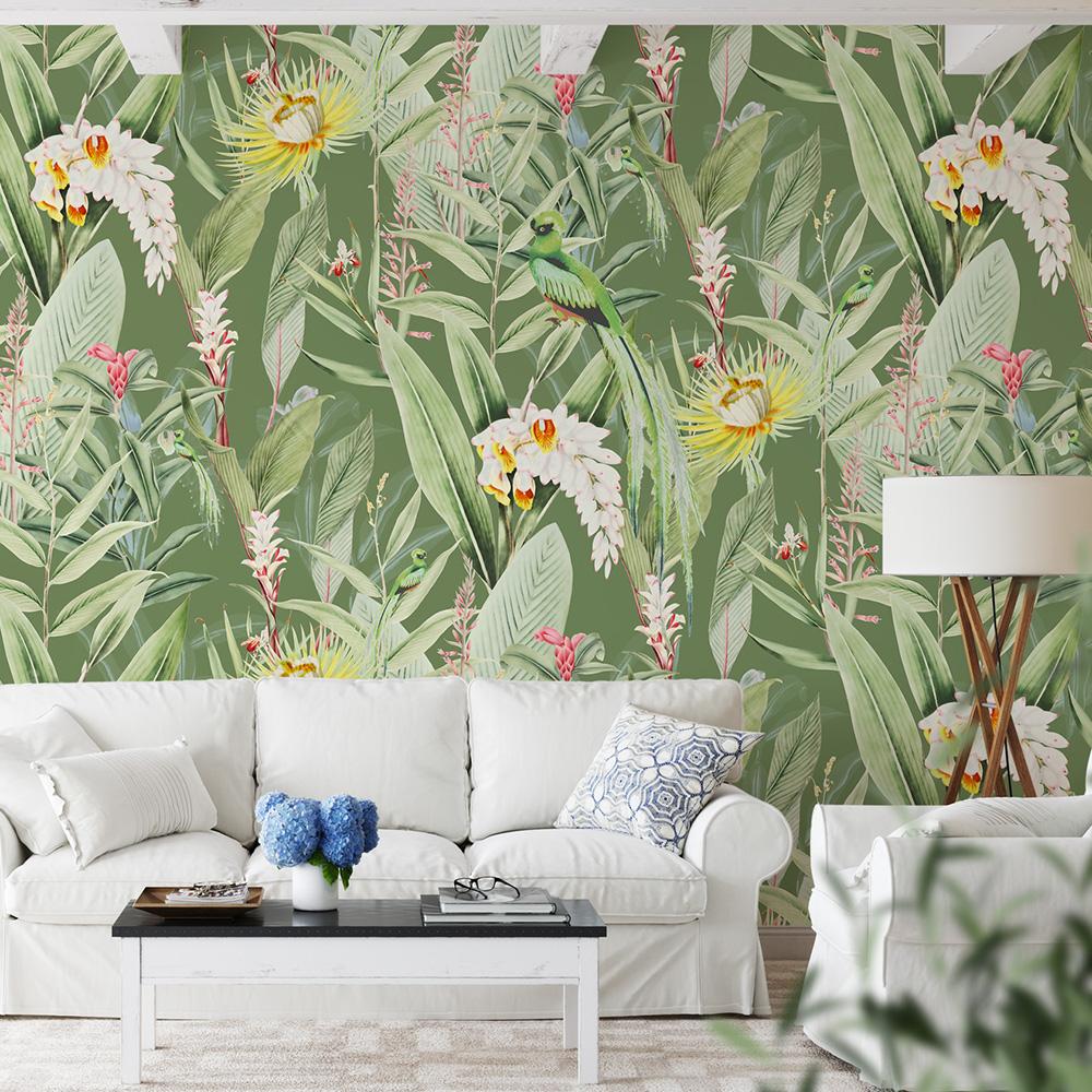 Papier peint panoramique motifs fleurs jardin tropical vert 255x260cm