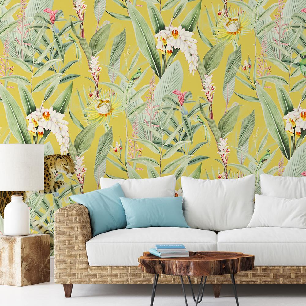 Papier peint panoramique motifs fleur jardin tropical canari 425x260cm