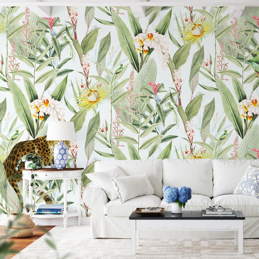 Papier peint panoramique motifs fleurs jardin tropical blanc 255x260cm